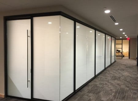 A large conference room with the smart windows on